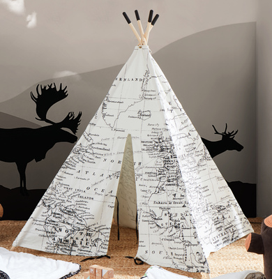 World Map teepee-Black