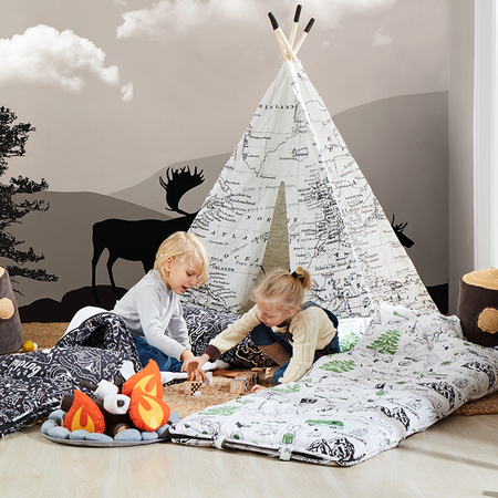 World Map Teepee Black